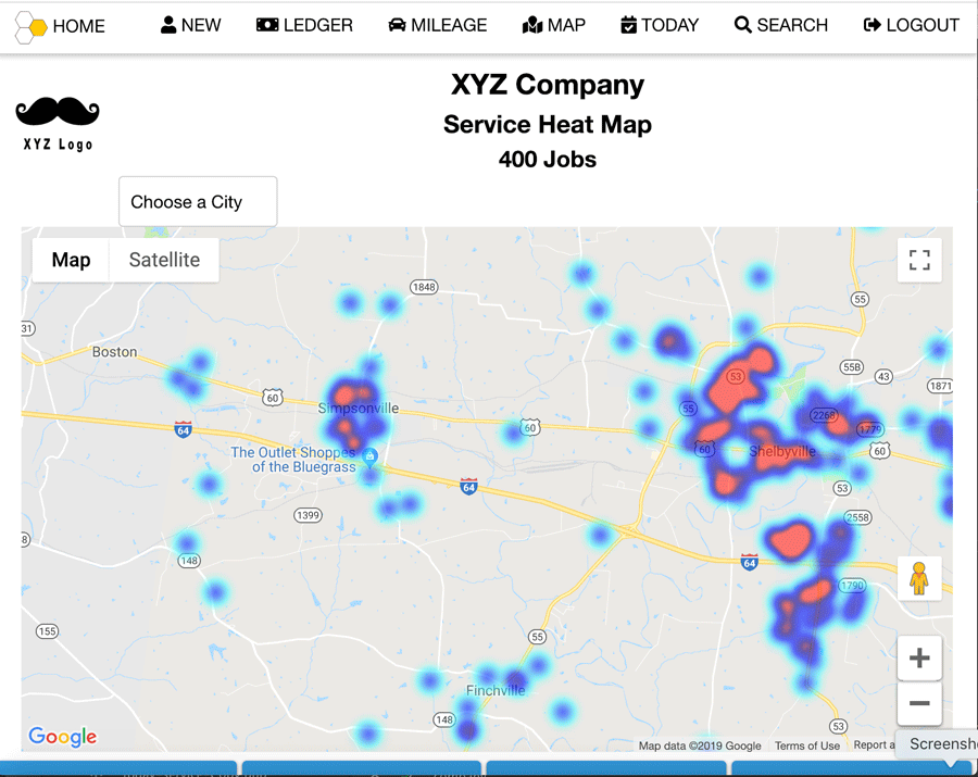Service Node Field Service Management Service Heat Map