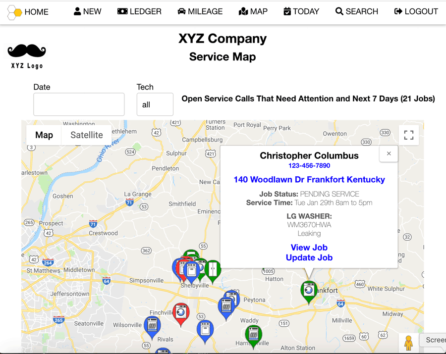 Service Node Field Service Management Job Map
